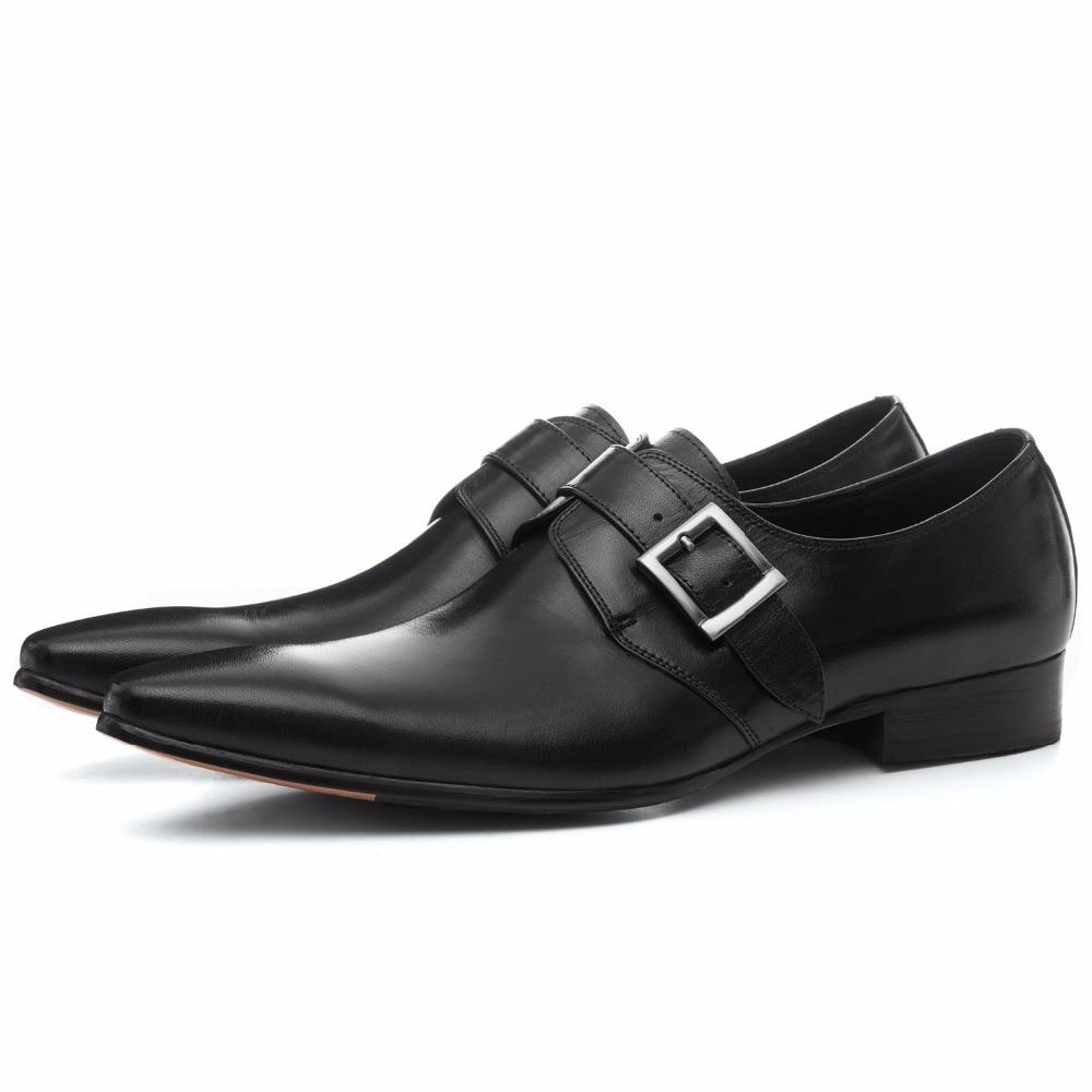 Large size EUR45 brown tan / black business shoes mens dress shoes genuine leather weddings shoes mens formal shoes