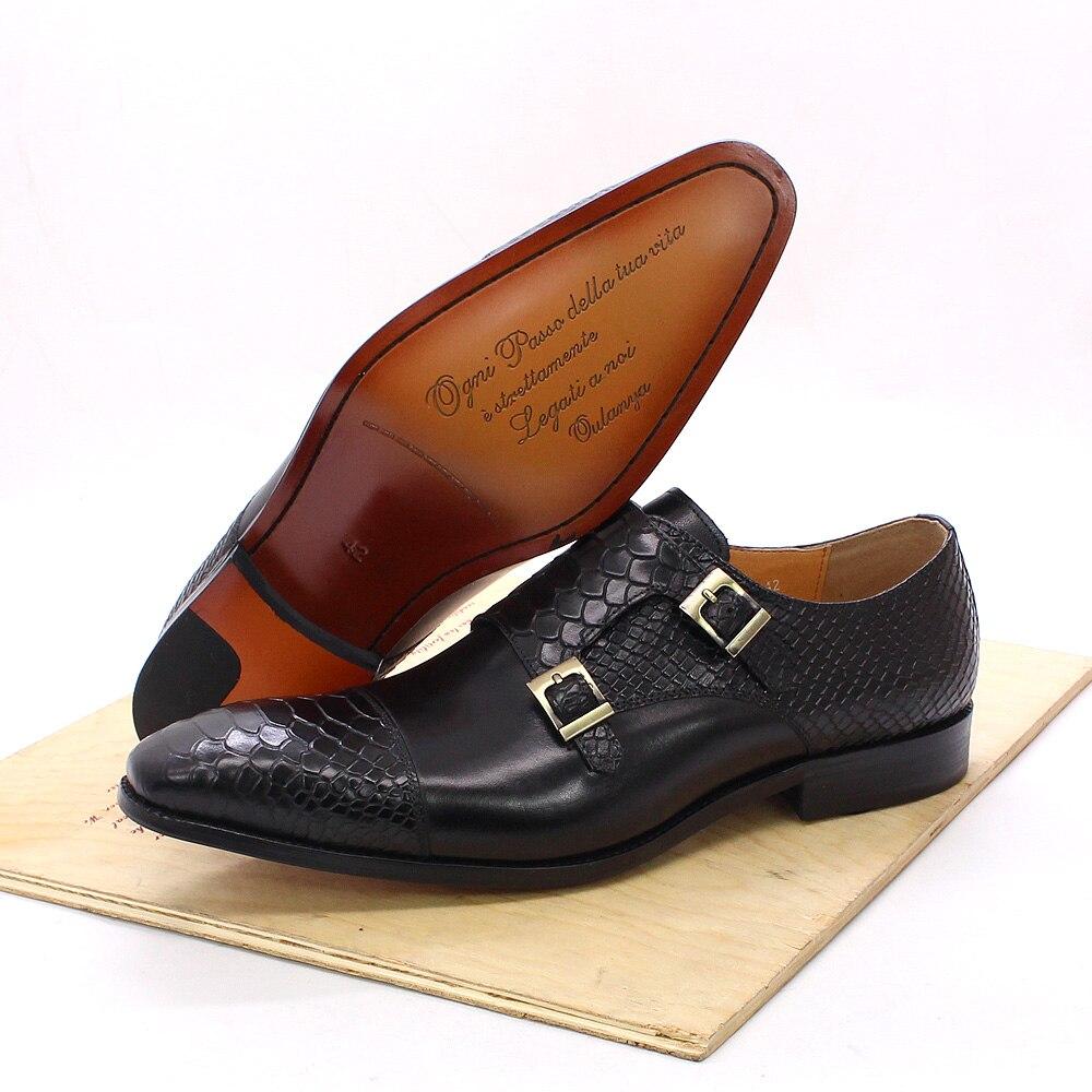 Size 47 Size 13 Mens Dress Shoes Genuine Leather Double Buckle Monk Strap Men Shoes Snake Print Cap Toe Classic Italian Shoes