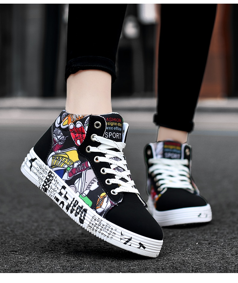 Fashion Sneakers For Men Classic Graffiti Lace-up High Style Spring Autumn Vulcanized Flat With Camouflage Casual Shoes Men