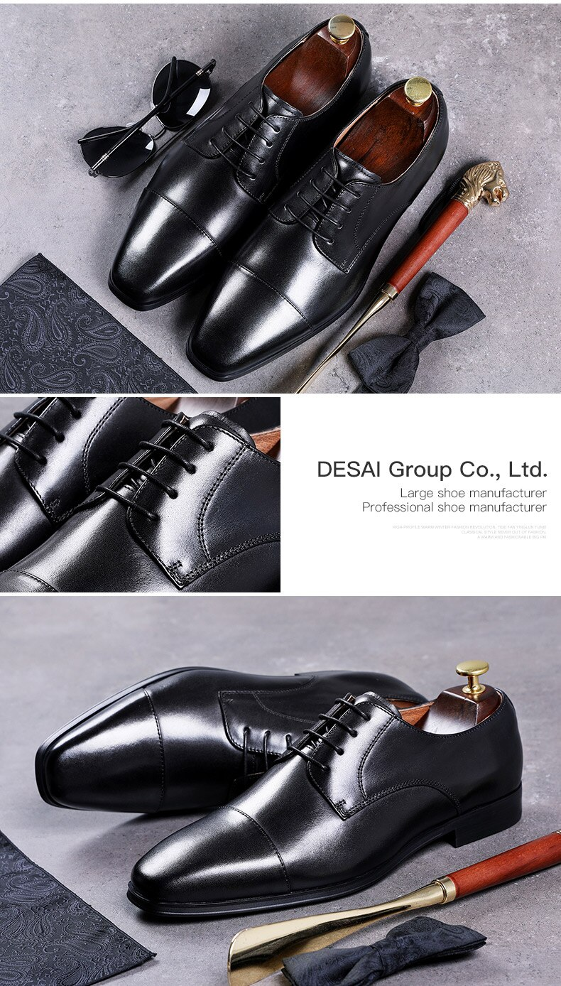 Desai Mens Dress Shoes Handmade Comfortable Formal Derby Genuine Leather Brown Shoes 2021