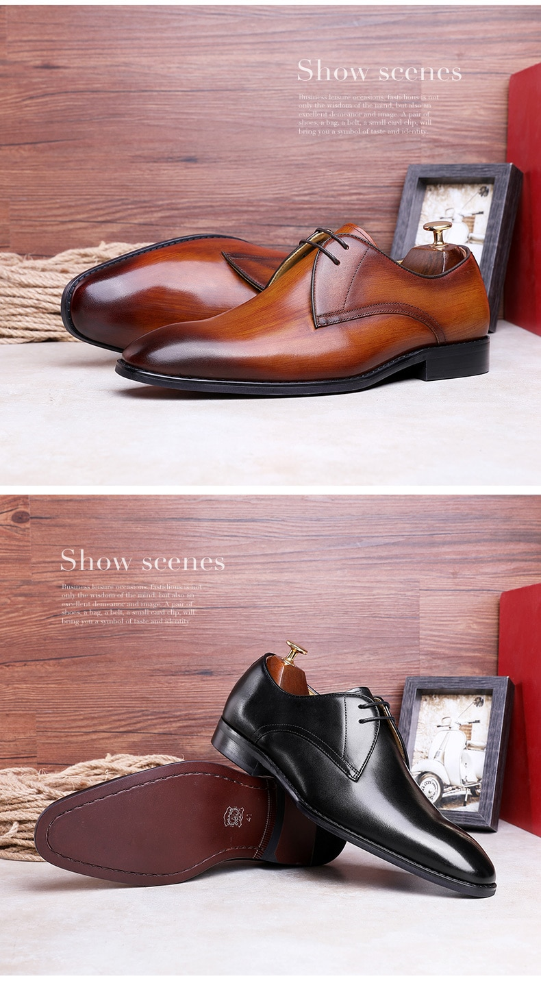 DESAI Shoes Men Leather Business Dress Men Casual Shoes Genuine Leather For Wedding 2020